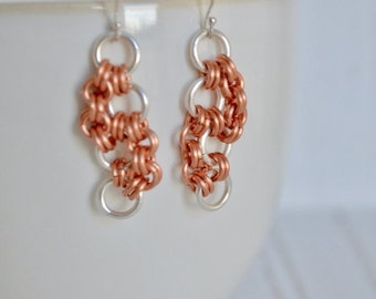 25% OFF - Chainmaille  Earrings - Two Tone Dangle Earring - Silver Rings - Copper Rings - Silver Earrings - Organic Earrings - By BALOOS