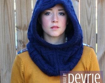 DIGITAL Download, Knit hood, Knit Hood Pattern, Knit cowl, Hooded cowl, Chunky Knit Hood, KNITTING PATTERN, Reversible Hood