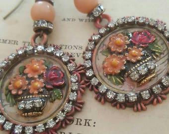 Bohemian Gypsy English Basket Flower ewelry Dangle Earrings Upcycled Recycled