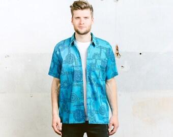 Mens Summer Shirt . Vintage 80s Pattern Shirt Button Down Blue Abstract Print Hawaiian Short Sleeve Shirt . size Medium M