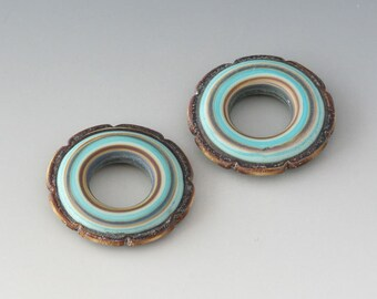 Rustic Ruffle Discs - (2) Handmade Lampwork Beads - Mint