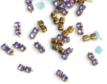 VINTAGE Rhinestone Chain PIECES Tanzanite Violet Rhinestones ARt Artsy NOS. #231