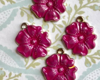 Fuschia Pink Vintage flower Charms,Enamel Flower charms,flower Drops,Blue flower charms,enameled flowers, Rose Charms, Drops Dangles #603R