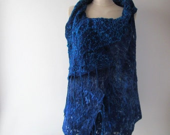 Blue Felted vest, Wool Reversible vest,  one of a kind vest , Lace women vest , women wool vest lace scarf , warm blue felted tunic