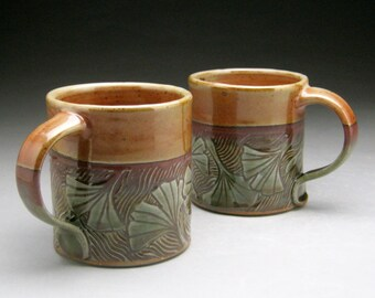 Stoneware Mug with Ginkgo Leaf Design - Green and Copper