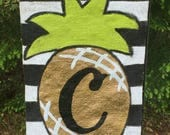 Shiny Gold Pineapple Black and White Stripe Burlap Welcome Yard Flag Choose Your Initial