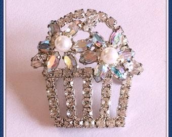 Vintage Flower Basket Brooch, Rhinestones, Aurora Borealis, Easter, Marquise, Crystals, 1970's