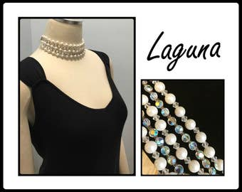 Vintage Laguna Crystal and Pearl Choker, Signed, Five Strands, Small Neck, Aurora Borealis, 1950's 1960's