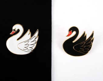white and black swan pin