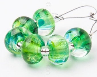 Tropical Spacer Swirl - Handmade Lampwork Glass Beads by Sarah Downton