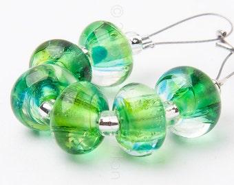 Tropical Spacer Swirl - Handmade Lampwork Glass Beads by Sarah Downton