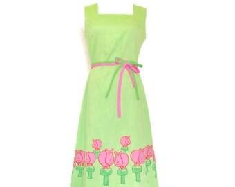 Vintage vested gentress Hippo Dress, Lime Green, Pink mushrooms, size 10