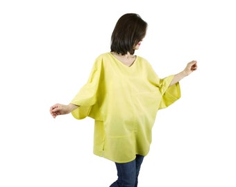 Boho Casual Elegant Plus Size 3/4 Sleeve Drop Shoulder V Neck Azo Free Color Yellow Light Cotton Blouse Women Top - SM699