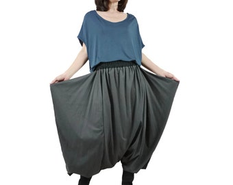Funky Harem Boho Drop Crotch Dark Charcoal Cotton Jersey Pants With Wide Flap Side And Black Waist