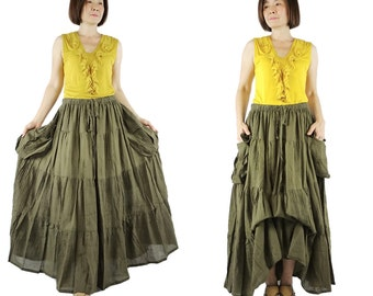 2 In 1 Take Me to Your Heart...Steampunk Short Front/ Long back Tiered Army Green Light Cotton Skirt With 2 Roomy Pockets