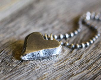 Sterling Heart Necklace, Heavy Chain, Sterling Silver, Rustic