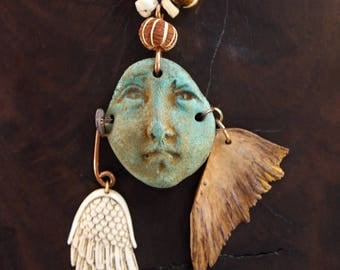 If I Had Wings Necklace Woman's Pottery Face Shard w Carved White Bone from Bali and Natural Turtle Bone Wings, Hand Painted Boho  Jewelry