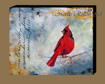Red Cardinal remembrance wall art after dad passed Cardinal Messenger wall art canvas artwork print loved one passed