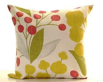 "Linen Floral Throw Pillow Cover, 18""x18"" Pillows. Throw Pillows,  Floral Linen Pillows, Square Pillow Cushions, Modern Home Decor, Cushions"