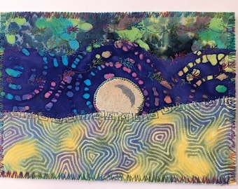 Ocean Moonrise 3 landscape fabric postcard