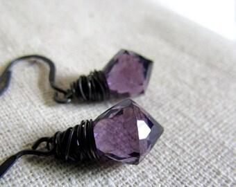 Amethyst Earrings, Dark Royal Purple, Amethyst Quartz, Sterling Silver, Dark Oxidized, Wire Wrapped Jewelry
