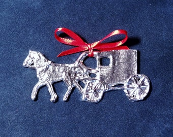 Pewter Horse & Carriage Ornament