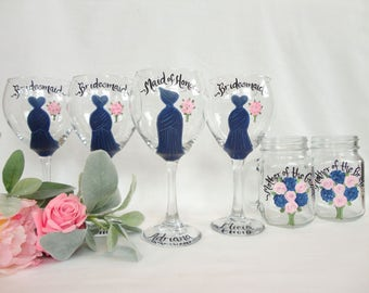 EXACT DRESS REPLICAS, Hand Painted Champagne Glasses, Painted Mason Jars, Bridesmaid Dress Glasses, Personalized Bridesmaid Dress Mason Jars