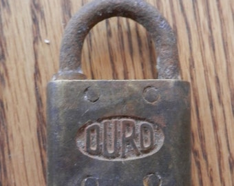 "antique brass & iron padlock ""Duro"" no key"