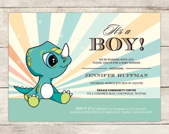 Baby Triceratops Baby Shower Invitation, Baby Dinosaur Baby shower Invite, Personalized Baby Shower Invitation, Printable Baby Shower Invite