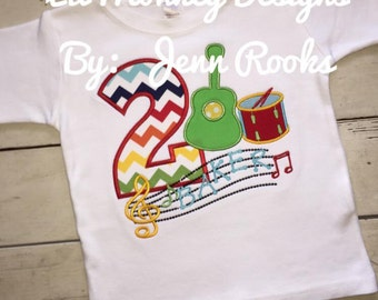 Music Themed Birthday To- Guitar- Drums- Piano- Music Notes- Birthday