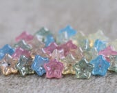 Pastel Glass flower bead mix, Czech glass flower beads, 5-petal Trumpet Flower beads, 8x5mm (50pcs) NEW
