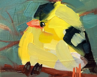 Winter Goldfinch no. 78 Original Bird Oil Painting by Angela Moulton 5 x 5 inch on Birch Panel pre-order