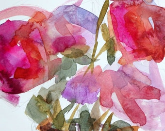 Pink Peonies no. 17 Original Watercolor Floral Painting by Angela Moulton 8 x 10 inch w 11 x 14 inch Mat