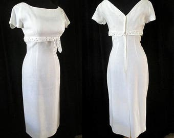 Charming 1950's Designer Summer Cocktail Party / Wedding Dress Shelf Bust Curve Hugging Vintage Dress VLV Rockabilly Marilyn Size Small/Med