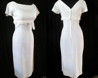 Charming 1950's Designer Summer Cocktail Party / Wedding Dress Shelf Bust Curve Hugging Vintage Dress VLV Rockabilly Marilyn Size Small/Med