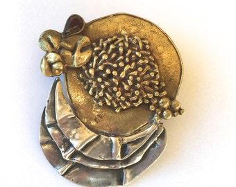 Vintage Brutalist Mixed Metals Sterling and Garnet Brooch Pin