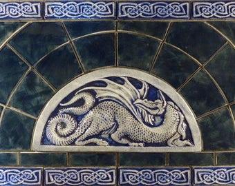 Decorative Celtic dragon handmade tile set