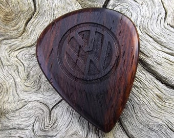 Wood Guitar Pick - Premium Quality - Handmade From Cocobolo Rosewood - Laser Engraved On Each Side with the Volkswagon VW Emblem