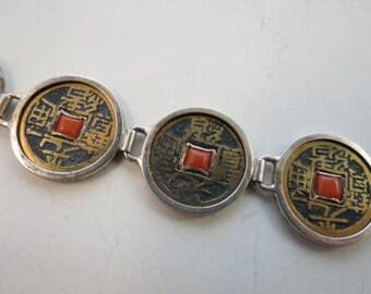 Chinese Coin Sterling Link Bracelet W/ Carnelian