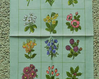 Vintage Tea Towel Dunmoy Pure Irish Linen Flowers Floral New Unused Old Stock