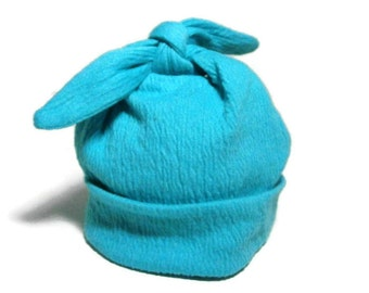 Modern Baby Hat | Top Knot Infant Cap | Hospital Homecoming Stretch Knit Hat | Pull-On Newborn Hat | Stretchy Aqua Blue Baby Beanie Cap