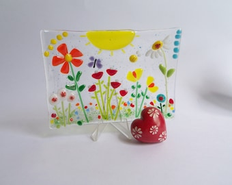 Flower Garden // Fused Glass Dish // Soap // Summer // Sunshine // Bright // Cheerful // Butterfly // Fun // Tulips // Daisy // Trinket