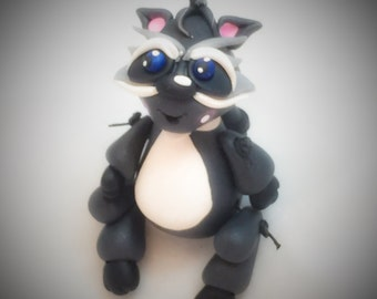 Polymer Clay Jiggly RACCOON Figurine