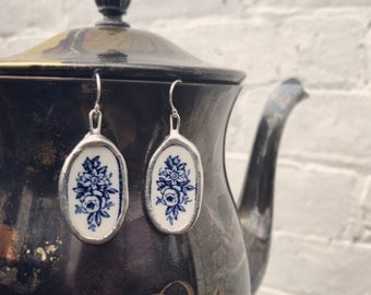 Oval Vintage Broken China Blue and White Rose Floral Earrings