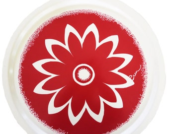 Large Red Flower Tray, Scandinavian birch wood, coffee table tray, serving tray, daisy