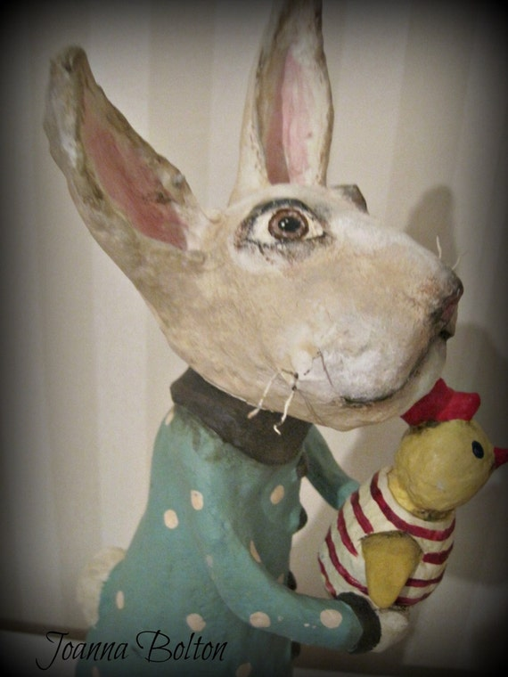 White Rabbit - papier mache- folk art- handmade art doll- folk art-