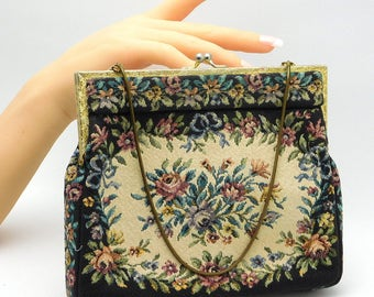 """Vintage """"princess"""" Needlepoint Tapestry Purse Handbag On Chain Made In Germany"""