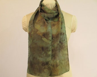 "Eco Gift For Her - Natural Dye Silk Scarf - Green Brown -  HA8121604 - 8""x70"" (20 x 177cm)"