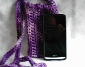 Crocheted Purple Varigated Cross Body Cell Phone Pouch