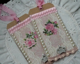 Handmade Gift Tags, Large Lace Tags, Victorian Roses, Journaling, Scrap Booking, Keepsake